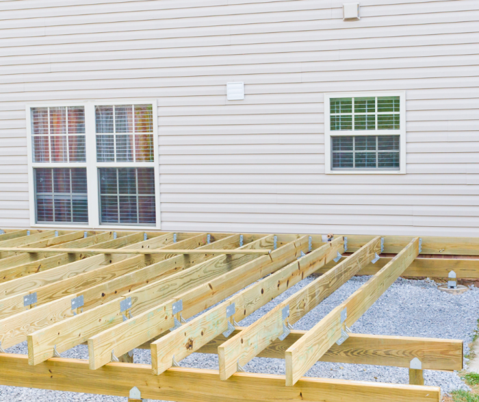 Building a deck with lumber