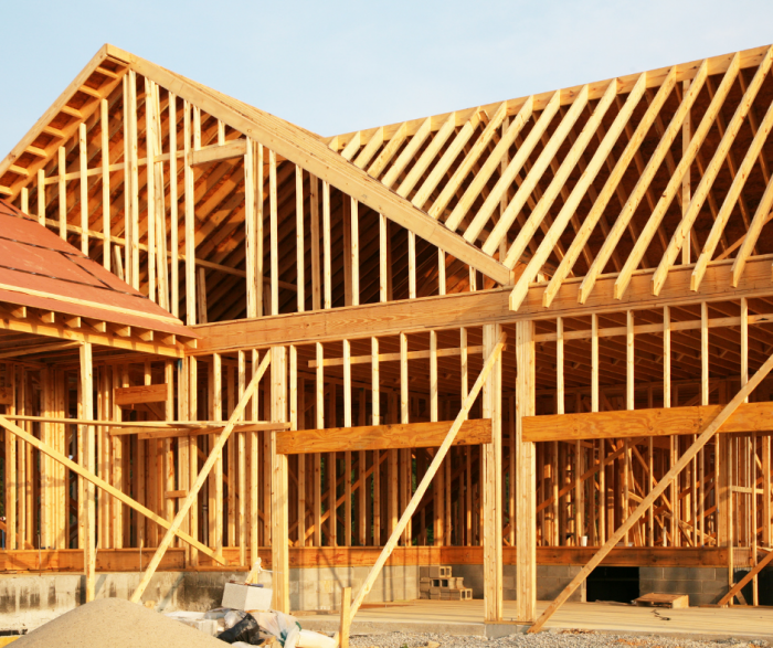 house framed with lumber
