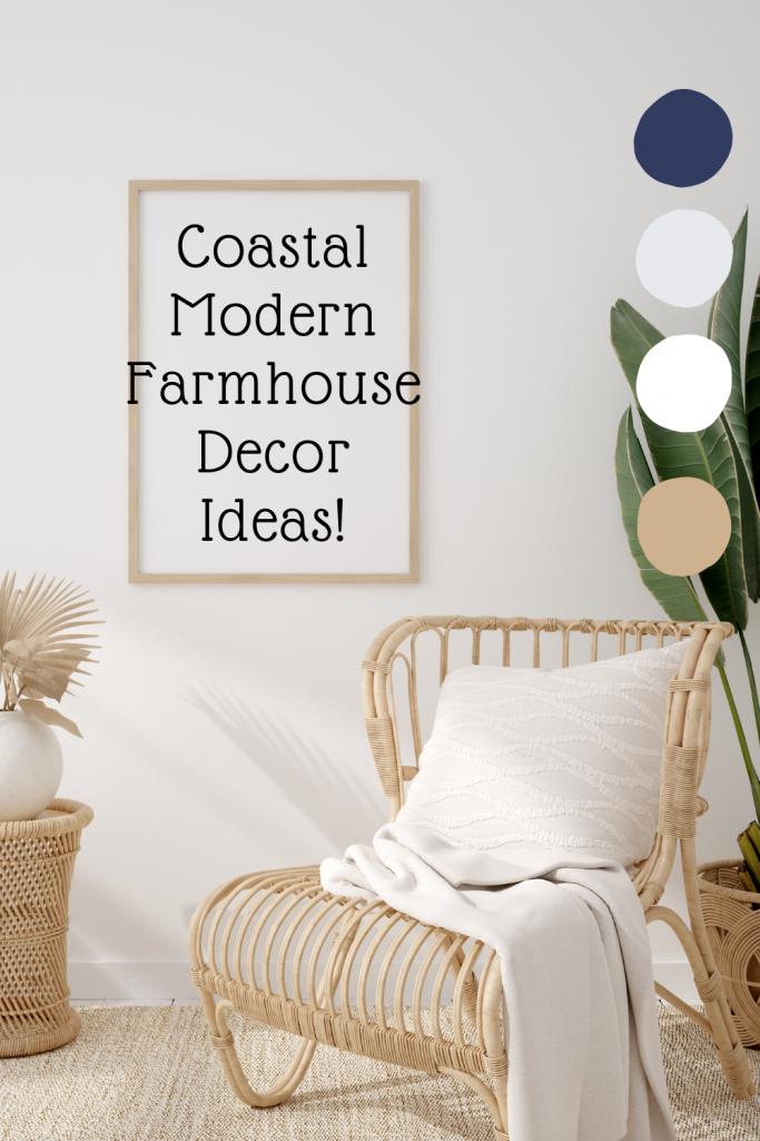 Coastal Modern Farmhouse Decor Ideas with rattan chair and pillow