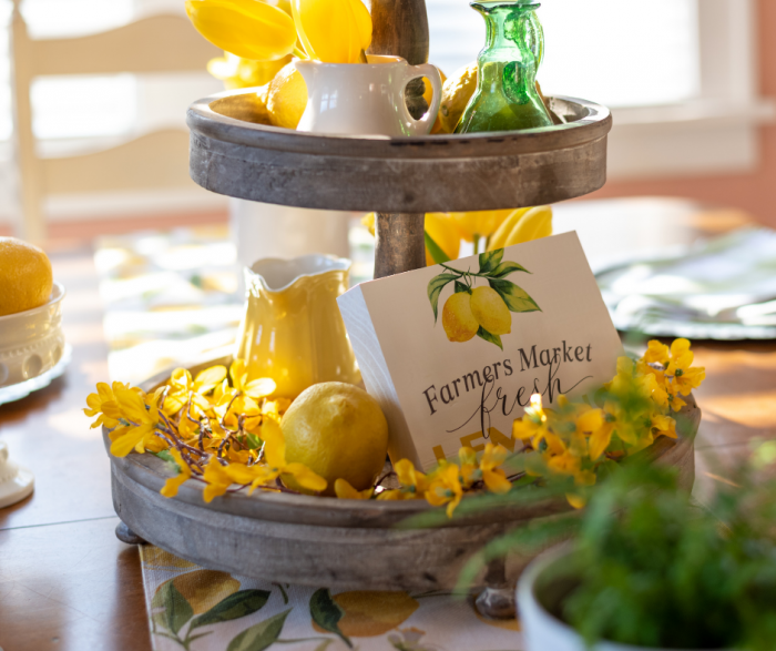 Spring Favorite Farmhouse Tiered Trays with lemons and sprigs of yellow flowers