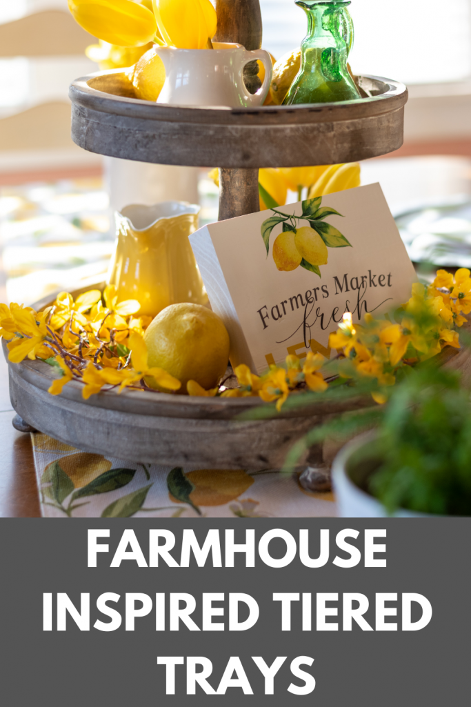 Farmhouse Inspired Tiered Tray With spring flowers and lemons