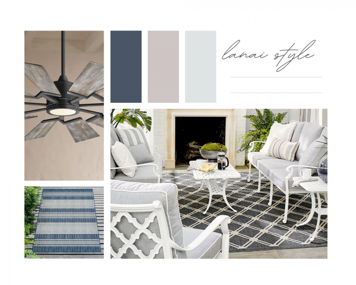 Lanai Coastal Vibe Dream Board With Ceiling Fain, furniture and rug all in navy and white