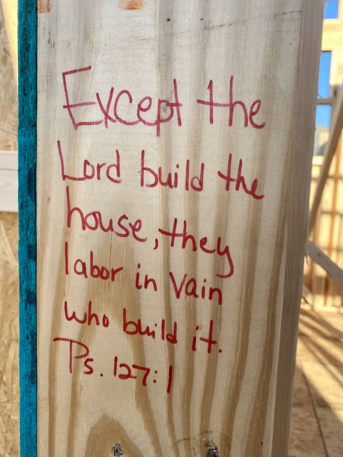 Except the Lord build the house scripture on doorpost of new construction home