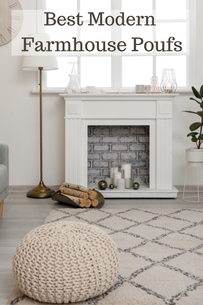 beige pouf in front of a fireplace with a lamp to the side