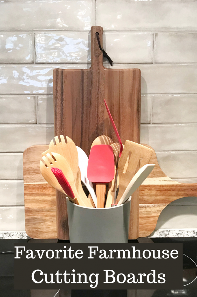 Modern Farmhouse Cutting Boards styled behind a cooktop