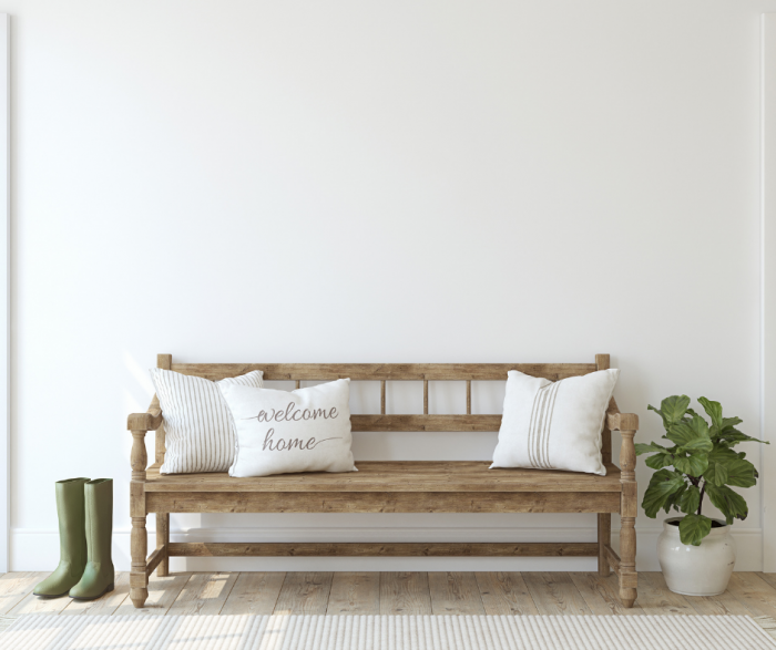 modern farmhouse entry wood bench in foyer
