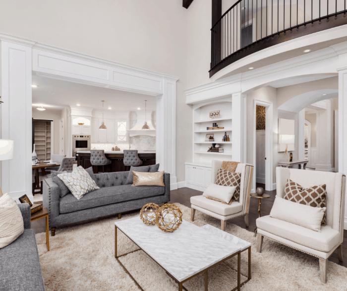 living room anchored with a modern farmhouse rug